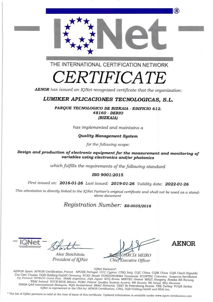 Lumiker: Quality Policy. ISO 9001-2015 Certificate