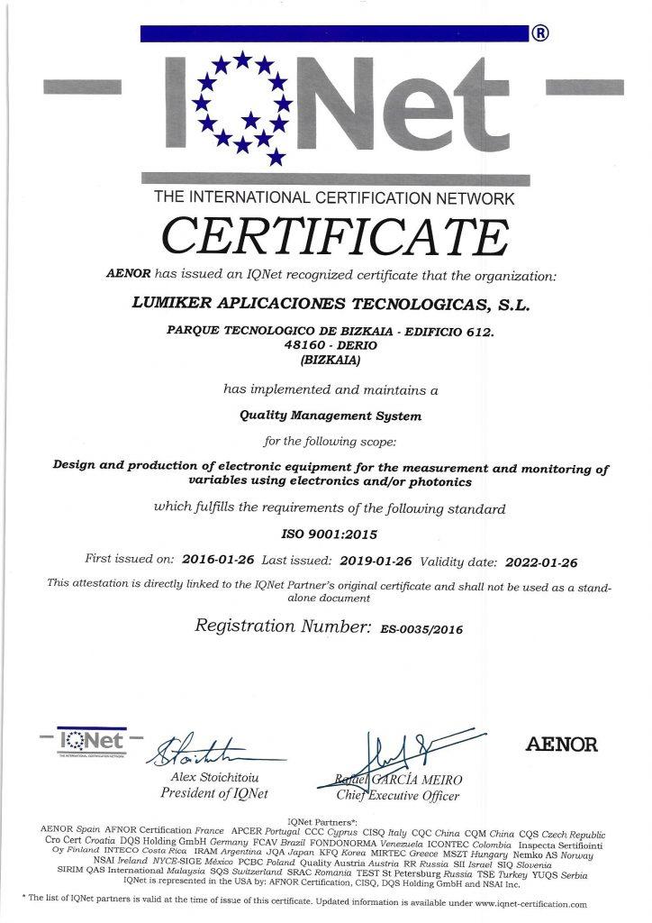 Lumiker: Política de calidad. Certificado ISO 9001-2015
